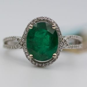 EFFY 14k White Gold Oval Emerald And Diamond Ring